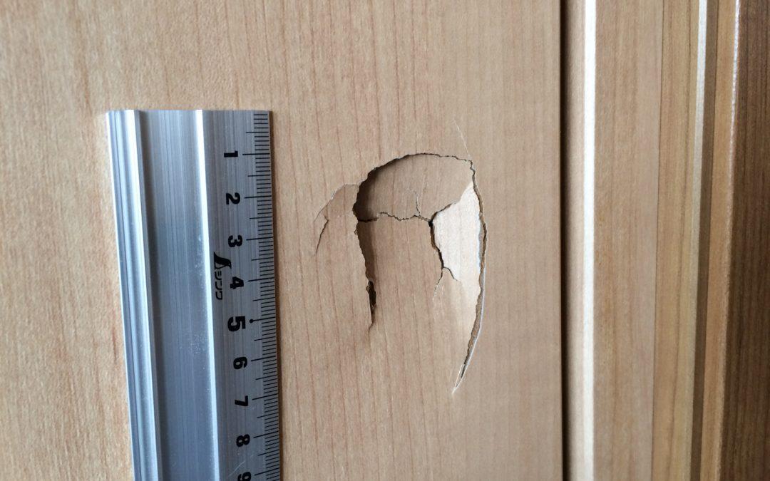 木製建具ドア扉へこみ穴リペア補修 No.BA170329