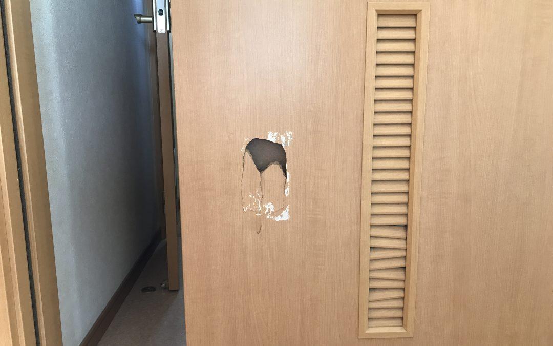 室内ドア木製建具へこみ穴リペア補修 No.BA190508