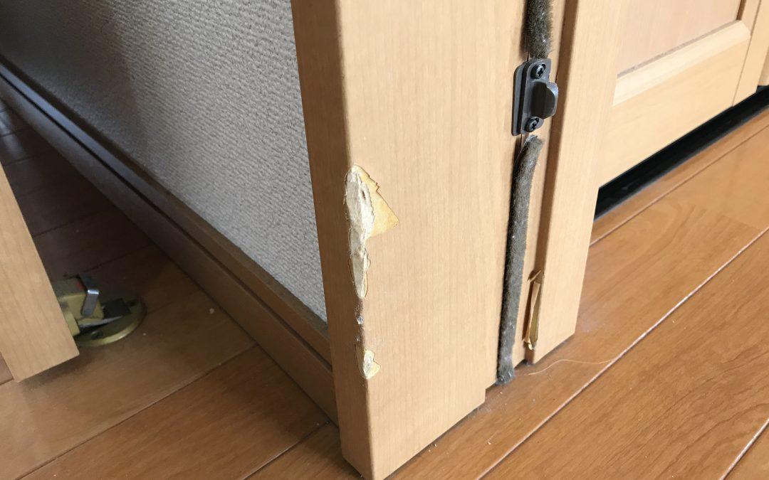 室内ドア木枠柱はがれキズ リペア補修 No.BA190509
