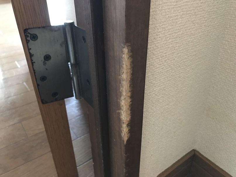 室内ドア木枠柱かじり跡リペア補修 No.BA190723