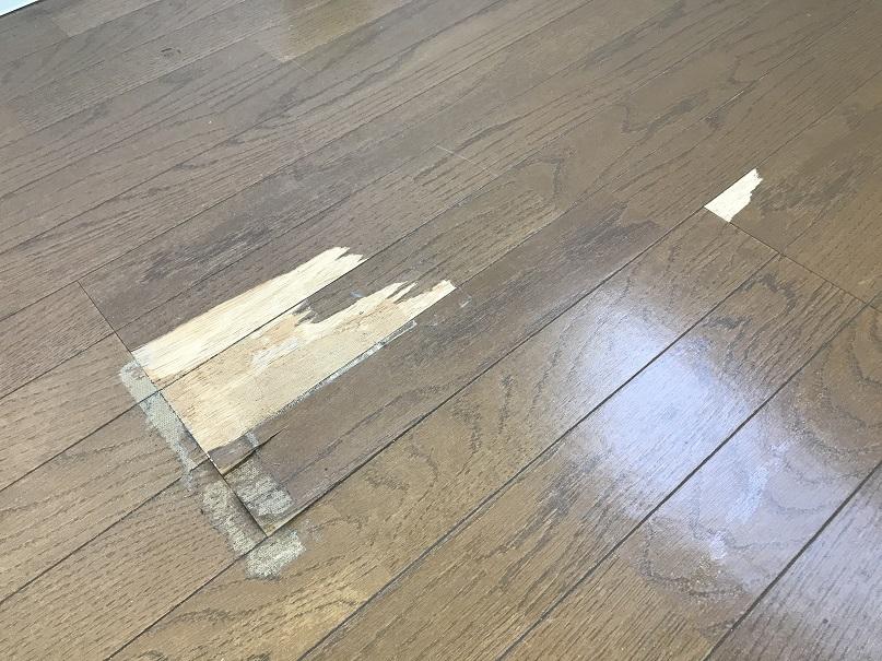 フローリング床表面剥がれ ぼかし塗装リペア補修 No.BA200507