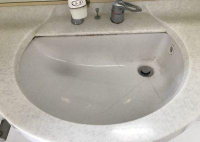 洗面台ボウル(陶器製)ひび割れリペア補修 No.BA210712